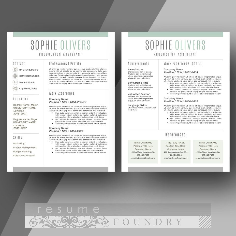 Elegant And Modern Two Page Resume Template By Resumefoundry Two