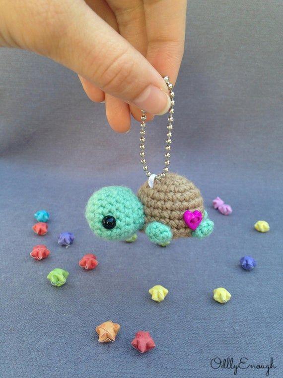 Llavero de gancho de tortuga - amigurumi, llavero de tortuga, llavero lindo, ideas de regalos, kawaii, correa para teléfono - gunesblog.com/tricot
