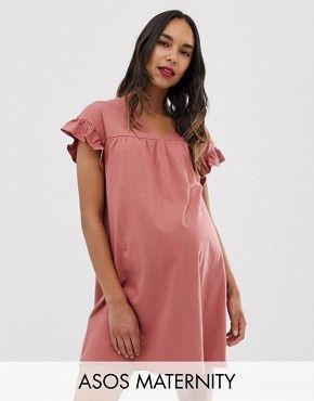 6260caeba4d65 Asos Maternity - Asos Design Maternity Mini Reversible Cotton Slub Smock  Dress