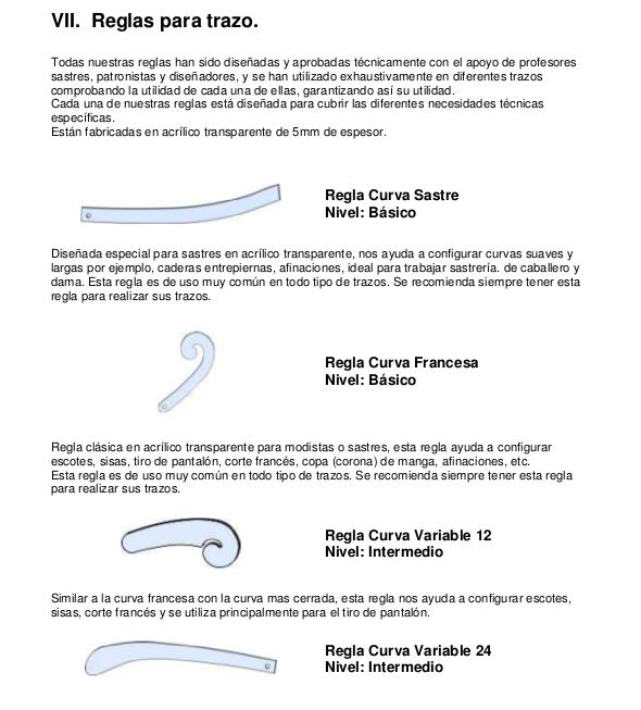 Tipos de Reglas en la costura. Descarga reglas para imprimir: Regla ...