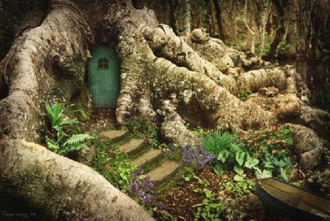 Fairy house stairs and blue door | fairiehollow.com