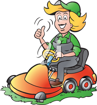 Vector Cartoon Illustration Of A Handy Gardener Woman Riding On A Lawnmower Cartoon Illustration Cartoon Cartoon Drawings