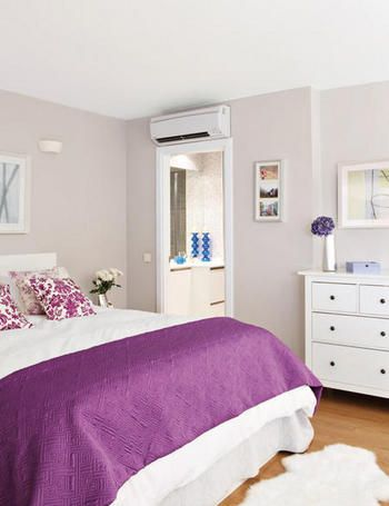 I Love The Acid Y Purple Throw And Delicate Colored Walls Bedroom