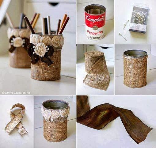 Porta objetos con yute y lata reciclada manualidades for Decoracion del hogar facil y economico