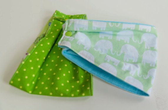 "Set of 2 (two). Baby ""Infinity Scarf"" Drool Bibs. In Green Polka Dots and Soft Green Elephants. Green, yellow & Blue. By Mommy Can Sew, on Etsy"