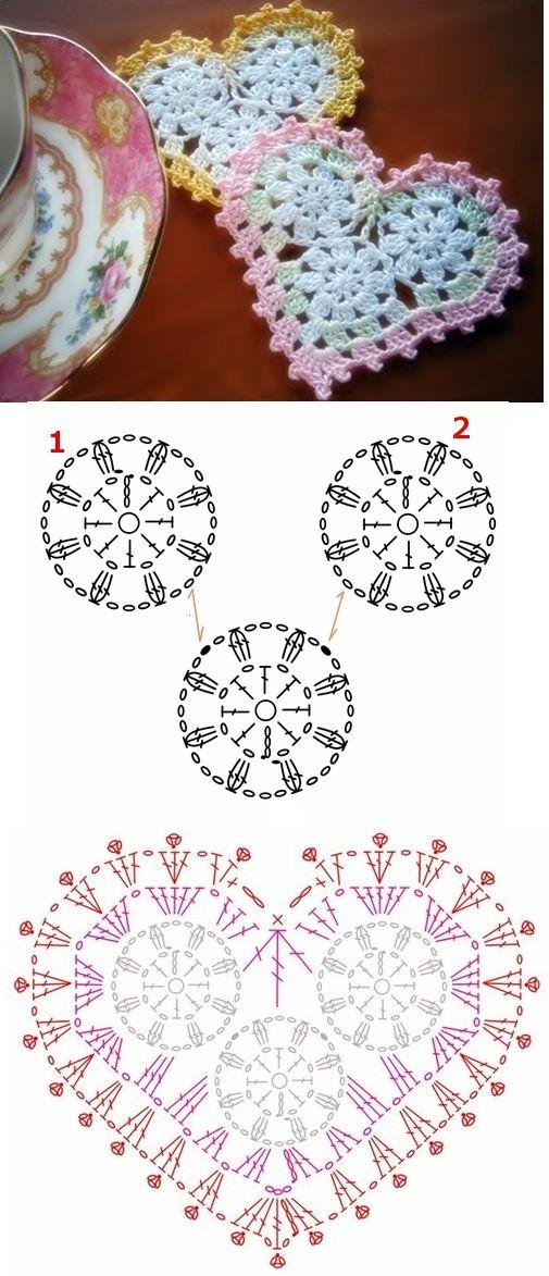 crochet hearts | Accesórios crochet | Pinterest | Ganchillo, Tejido ...