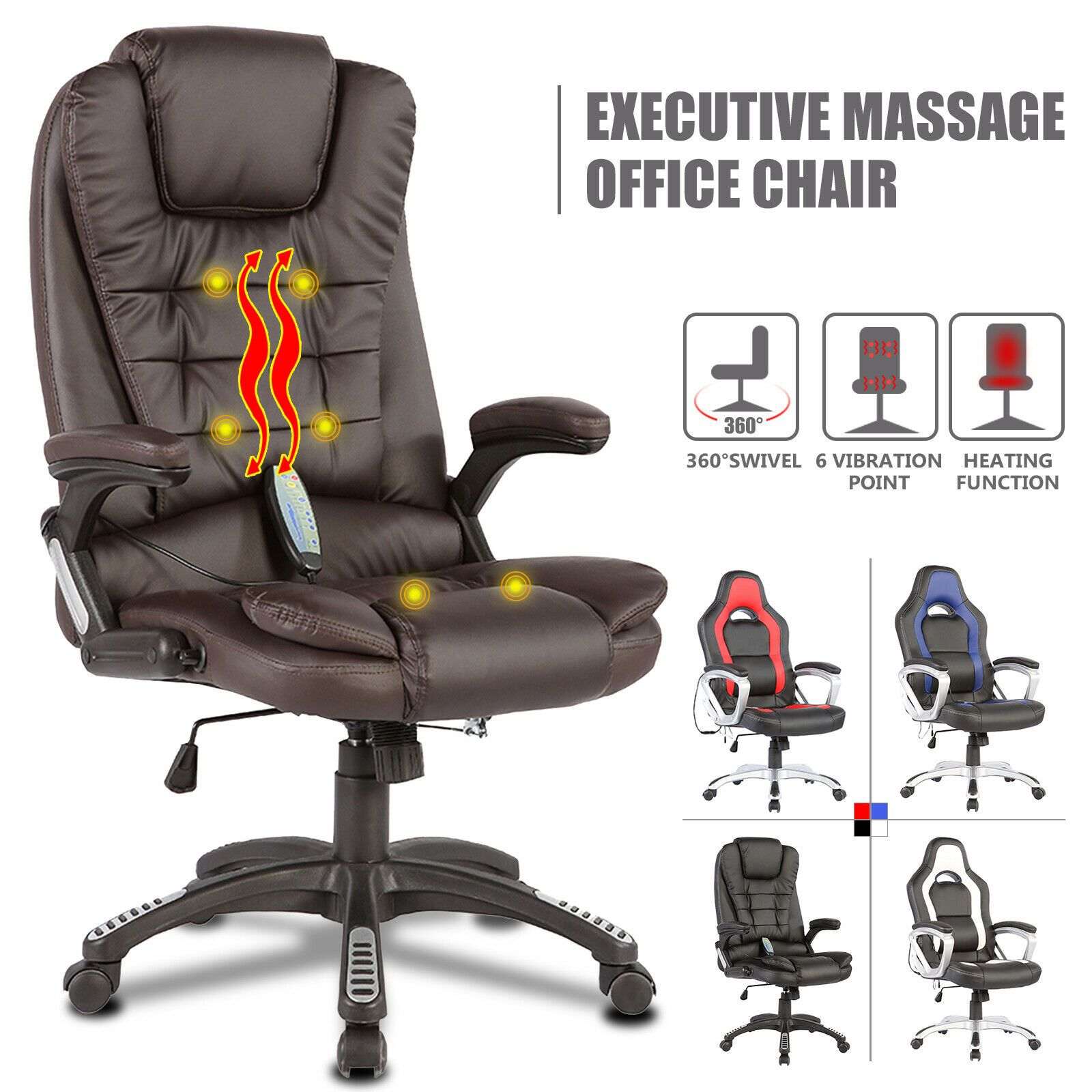 Details about 6 Point Racing Game Massage Office Chair PU