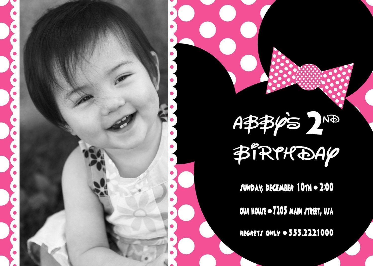 Free Printable Minnie Mouse Birthday Party Invitations ...
