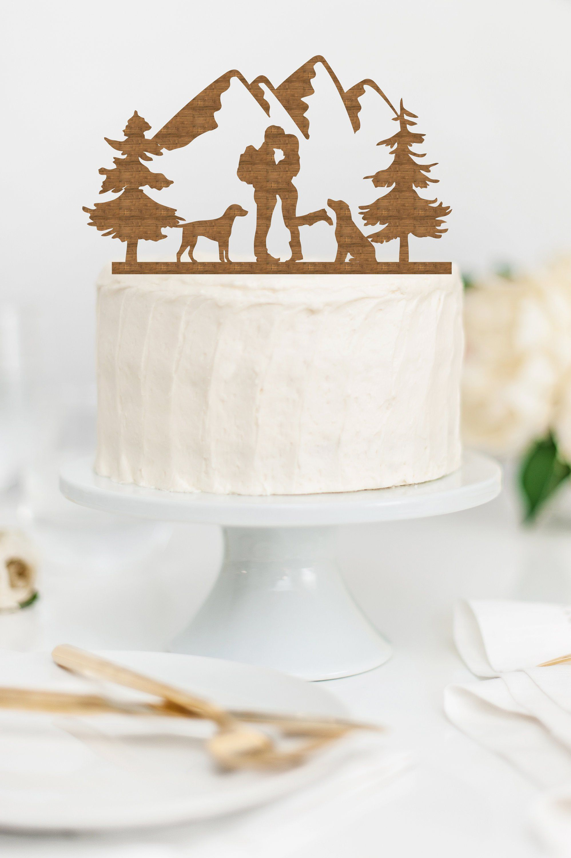 HIKING COUPLE with DOGS Wood Wedding Cake Topper