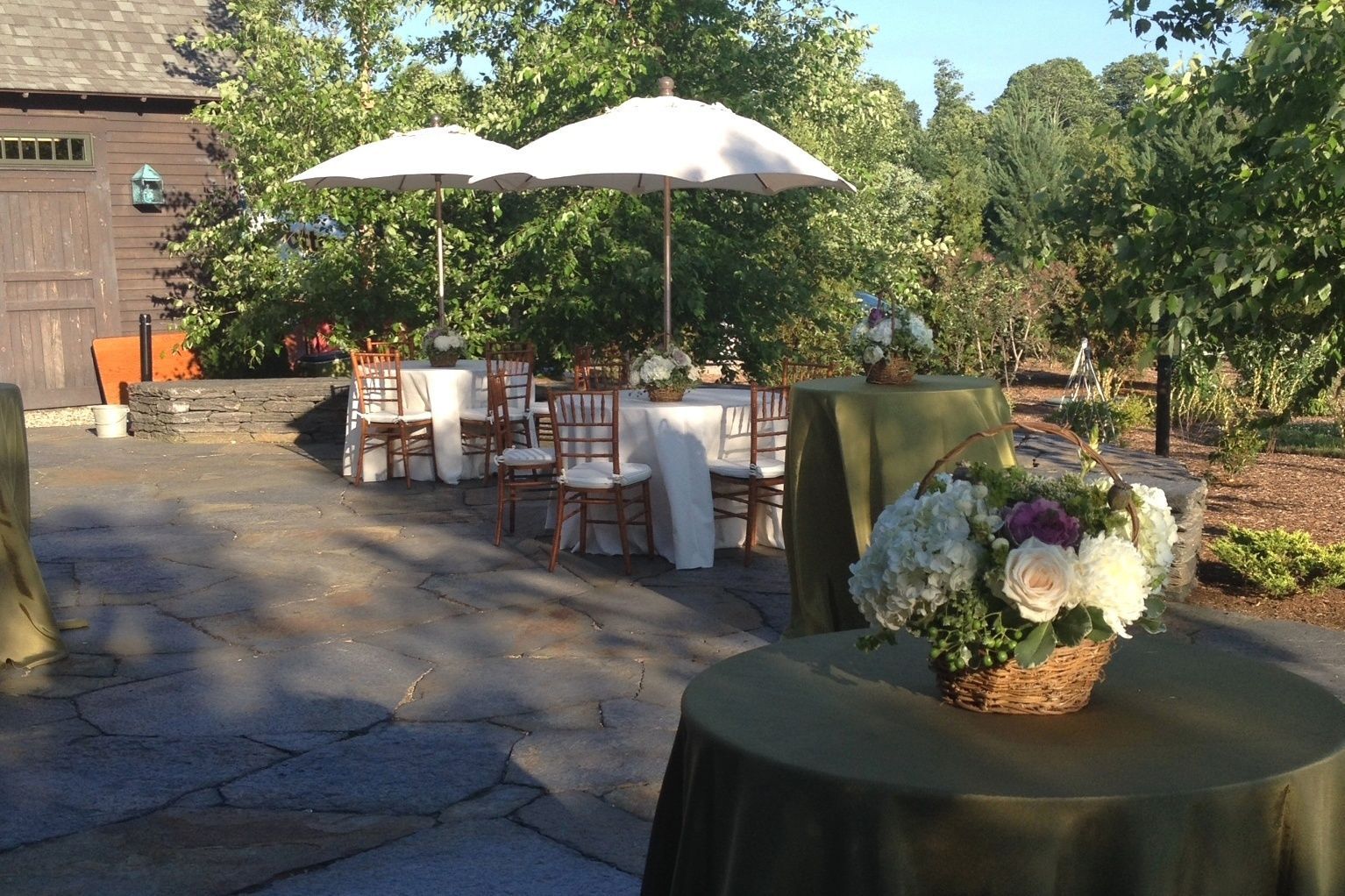 Quonquont Farms Patio | Blue Heron Catering | Be Our Guest Party Rentals |  Umbrella Tables