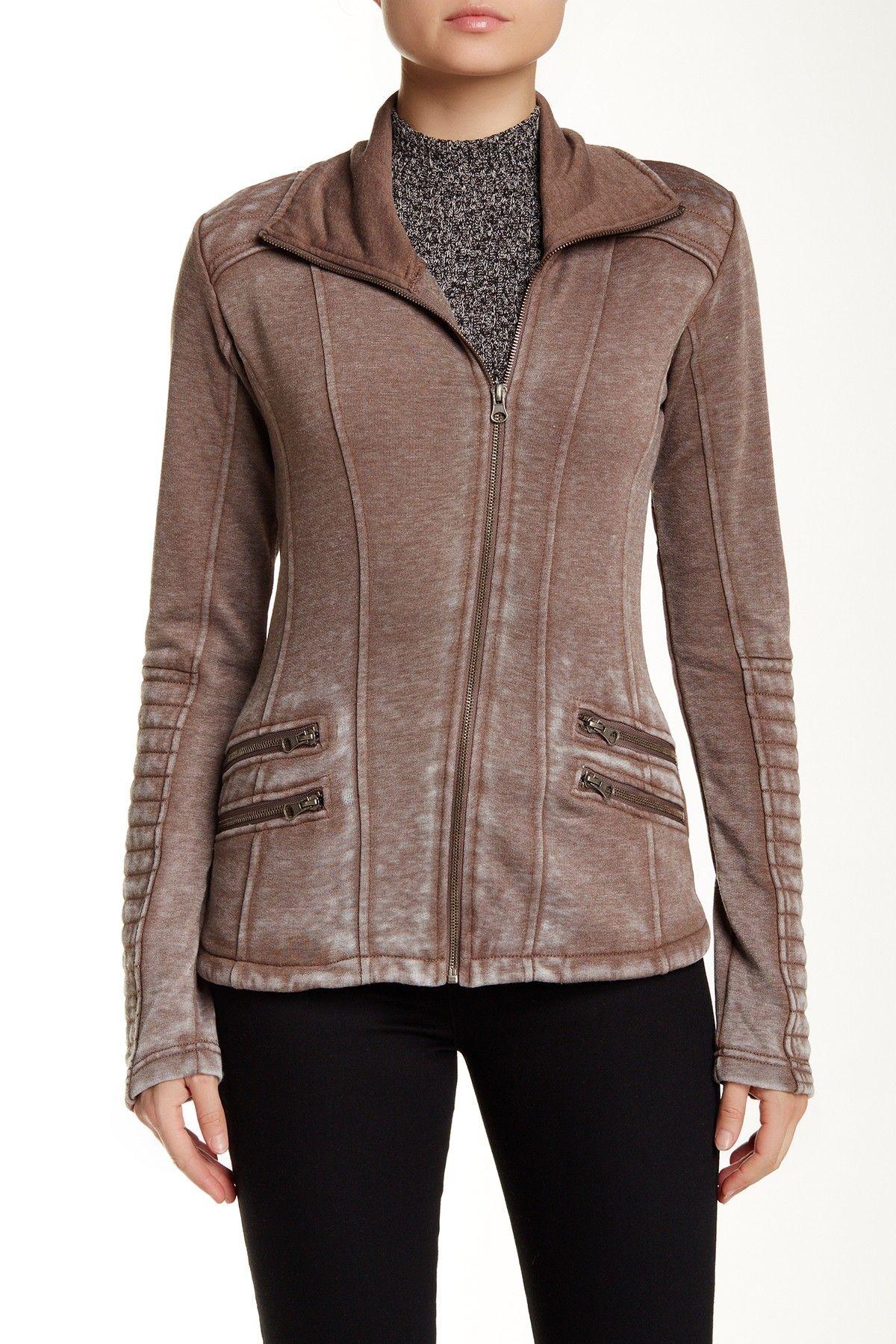 Leather jacket nordstrom rack - Bnci By Blanc Noir Asymmetric Zip Front Burnout Fleece Moto Jacket Motionnordstrom Rackstyle