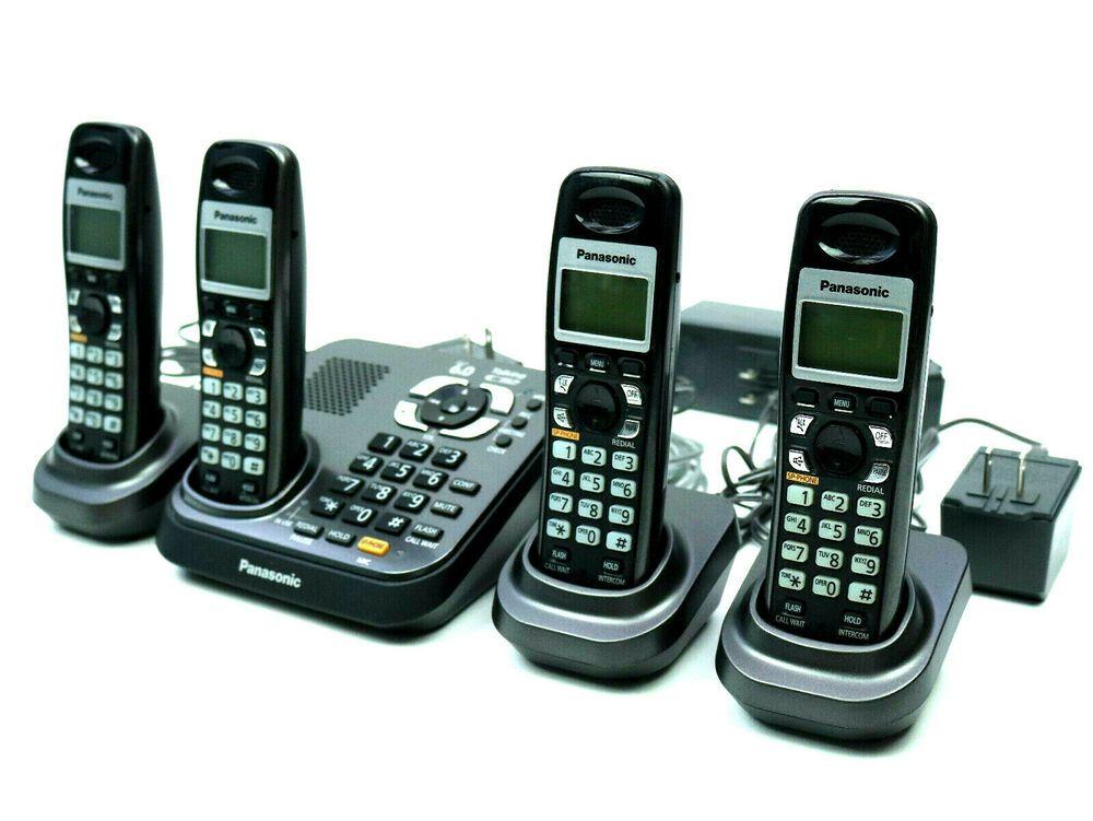 Panasonic 4 Handsets Cordless Phone Answering Machine Kx Tg9341t Dect 6 0 Panasonic Cordless Phone Handset Phone