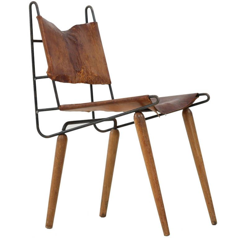 Minimalist Allan Gould Leather And Iron Chair From Unique Collection Antique Modern