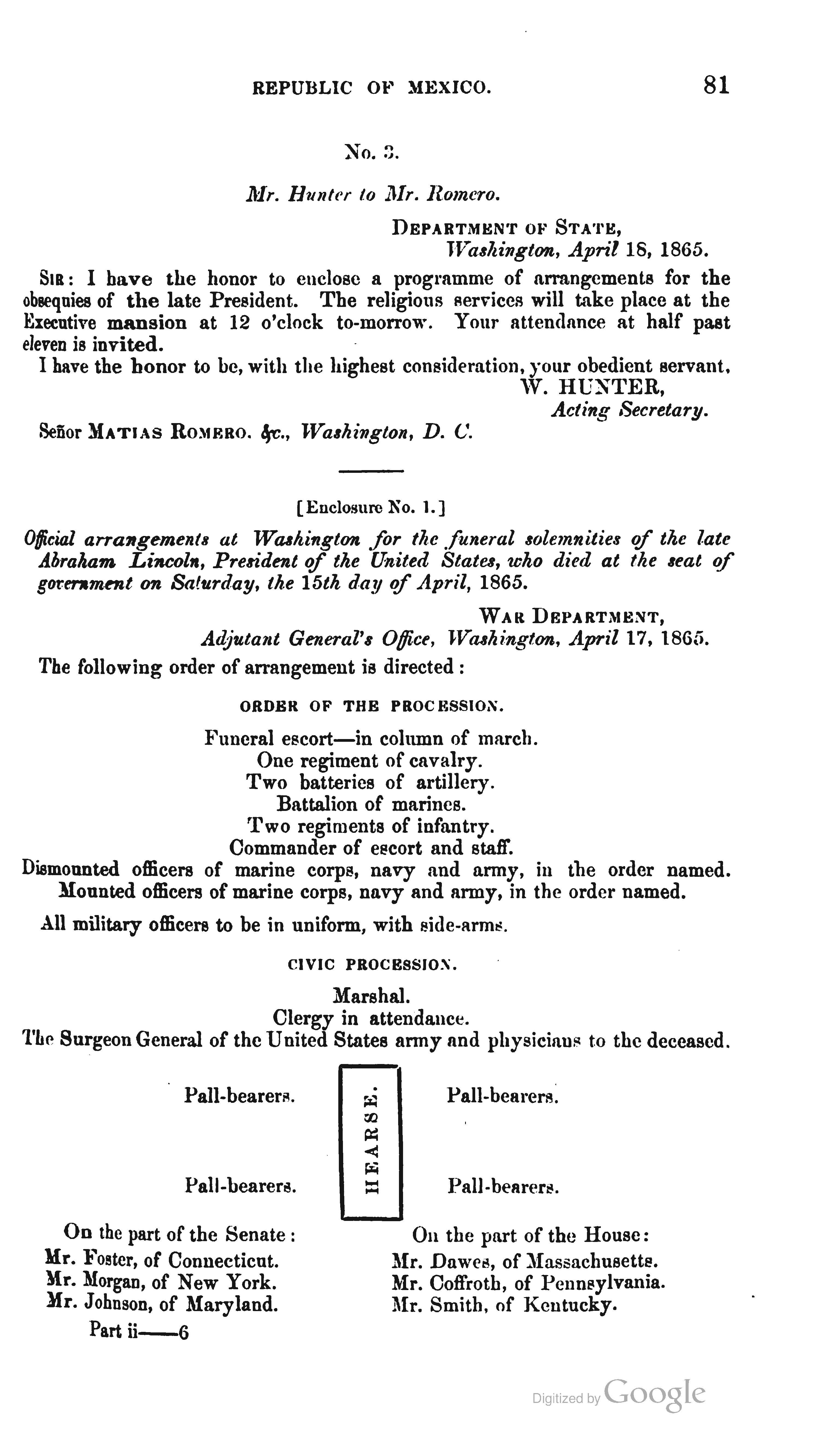 President abraham lincolns washington dc funeral directions and president abraham lincolns washington dc funeral directions and notes this is a letter and invitation to matias romero the minister of the mexican altavistaventures Choice Image