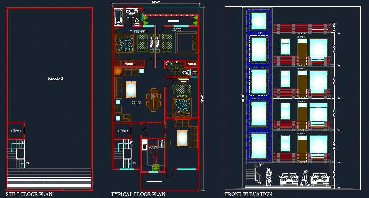 30 X60 Builder Floor House Planning Layout Plan Dwg Drawing Floor Plan Layout Model House Plan L Shaped House Plans