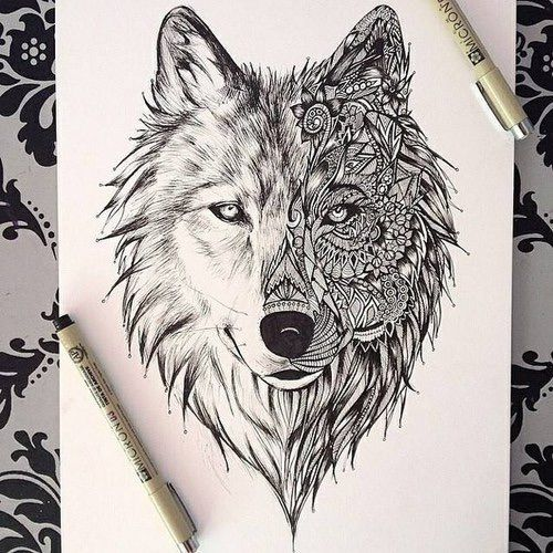 Neat Tattoo Idea But Obviously For Me I D Have To See If They Could Draw A Cat In This Style Geometric Wolf Tattoo Wolf Tattoos Wolf Tattoo Design