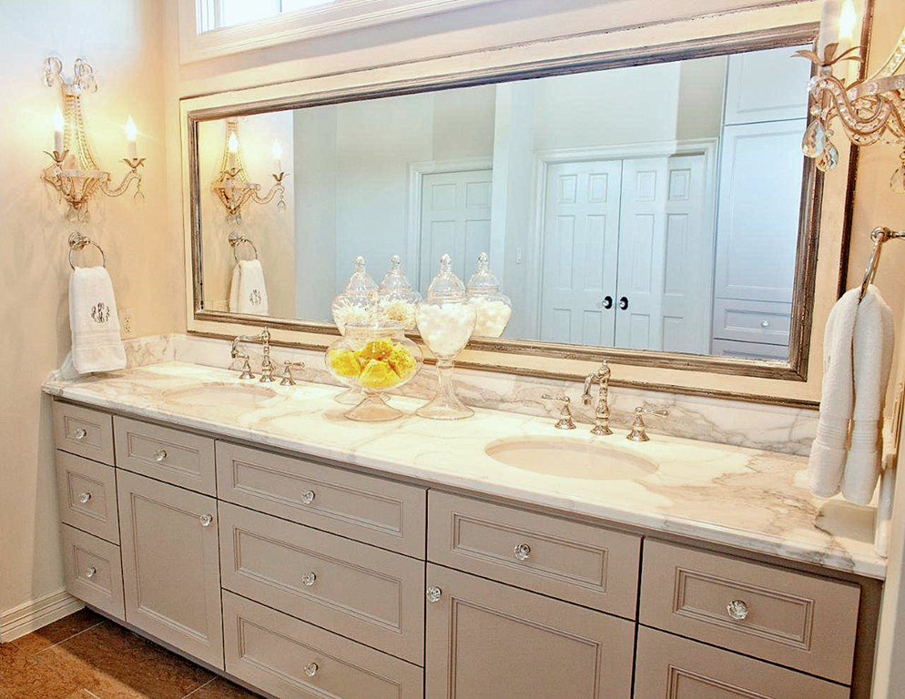 Custom Bathroom Vanities Michigan bathroom vanity in a dove grey - cream on the walls and everywhere