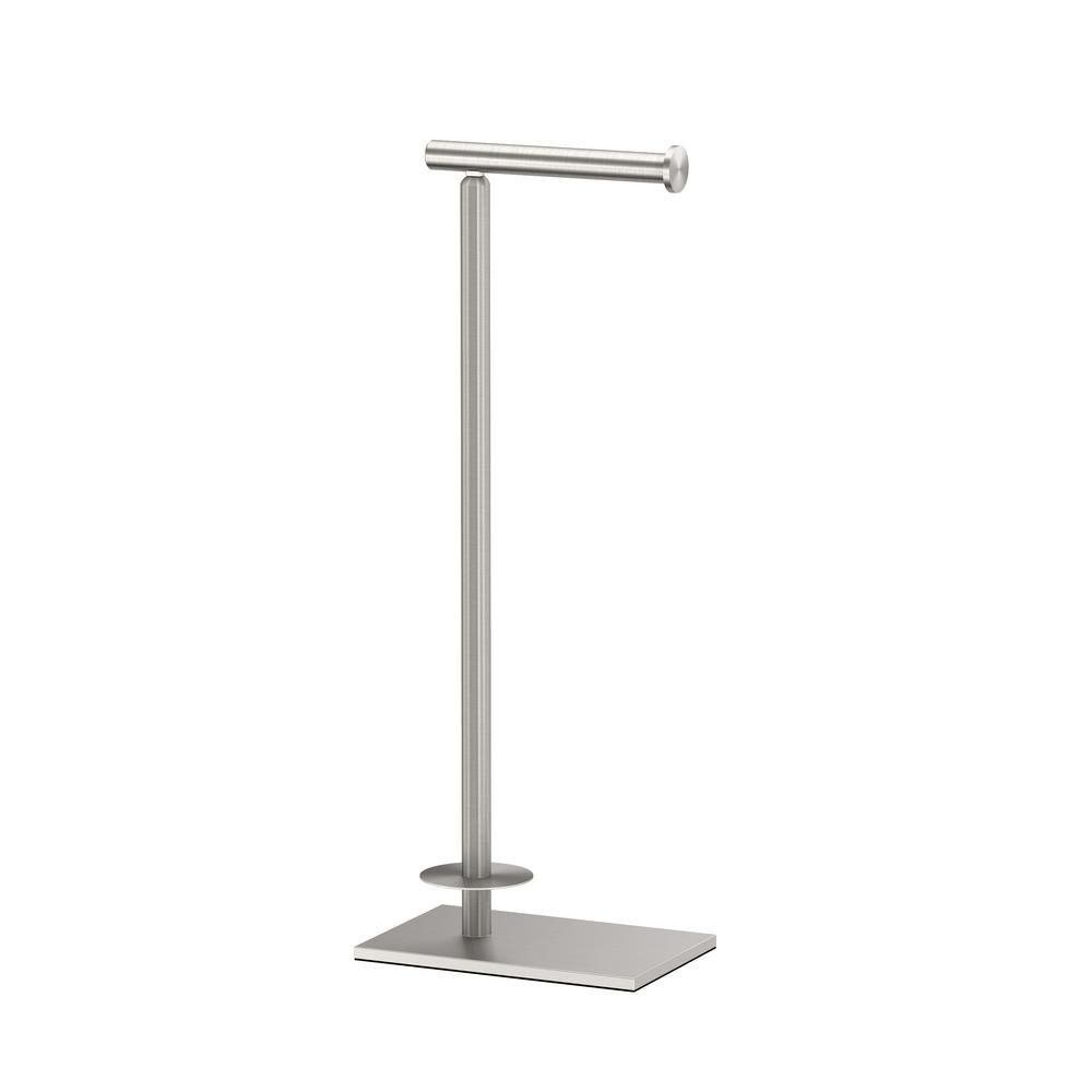 Gatco Latitude Ii Square Free Standing Toilet Paper Holder With Storage In Satin Nickel 1443sn Free Standing Toilet Paper Holder Toilet Paper Holder Stand Contemporary Bathrooms