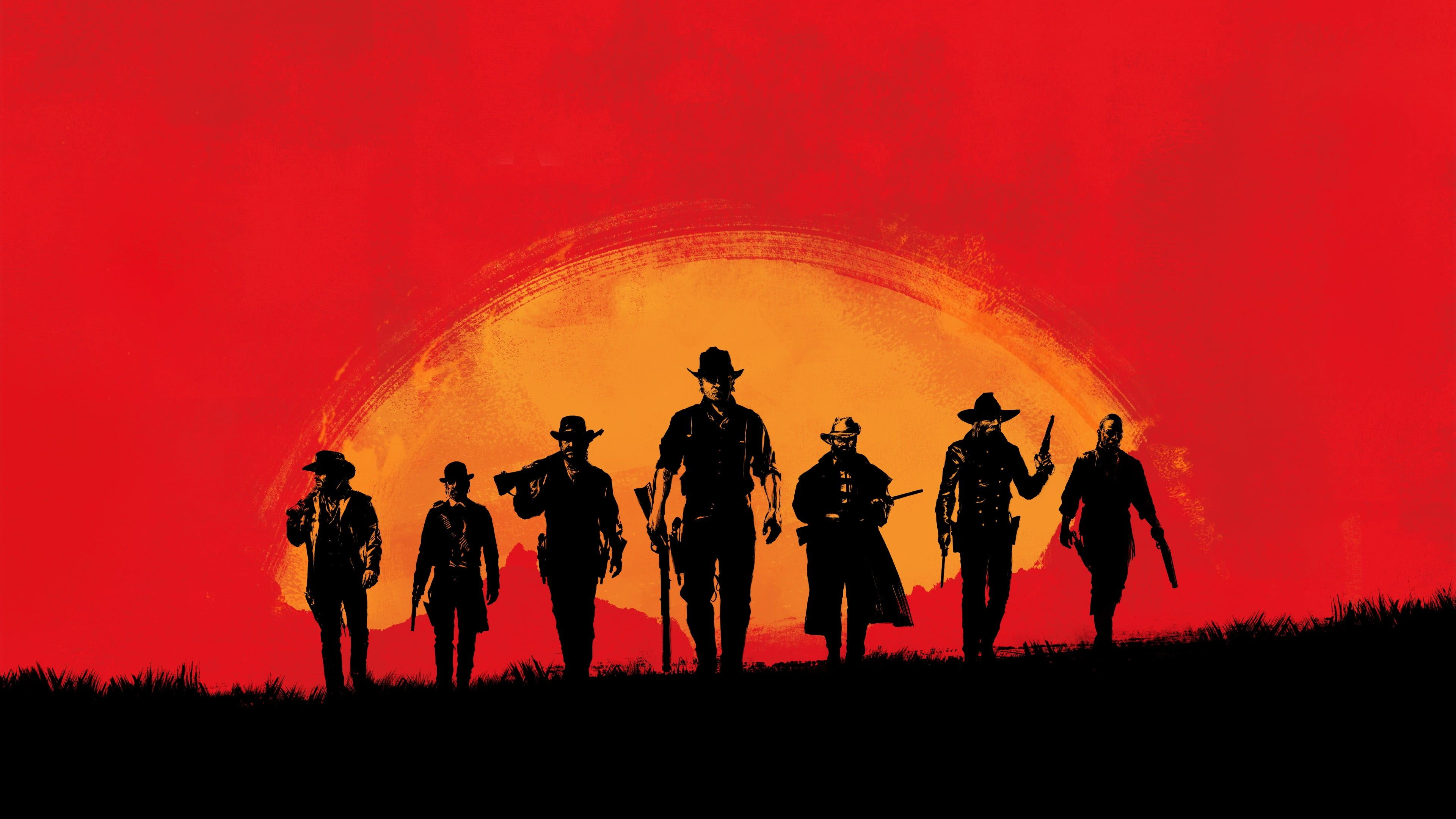 Yellow Red And Black Group Of Men Digital Wallpaper Red Dead Redemption Red Gamers Gamer Video Ga Red Dead Redemption Ii Red Dead Online Digital Wallpaper