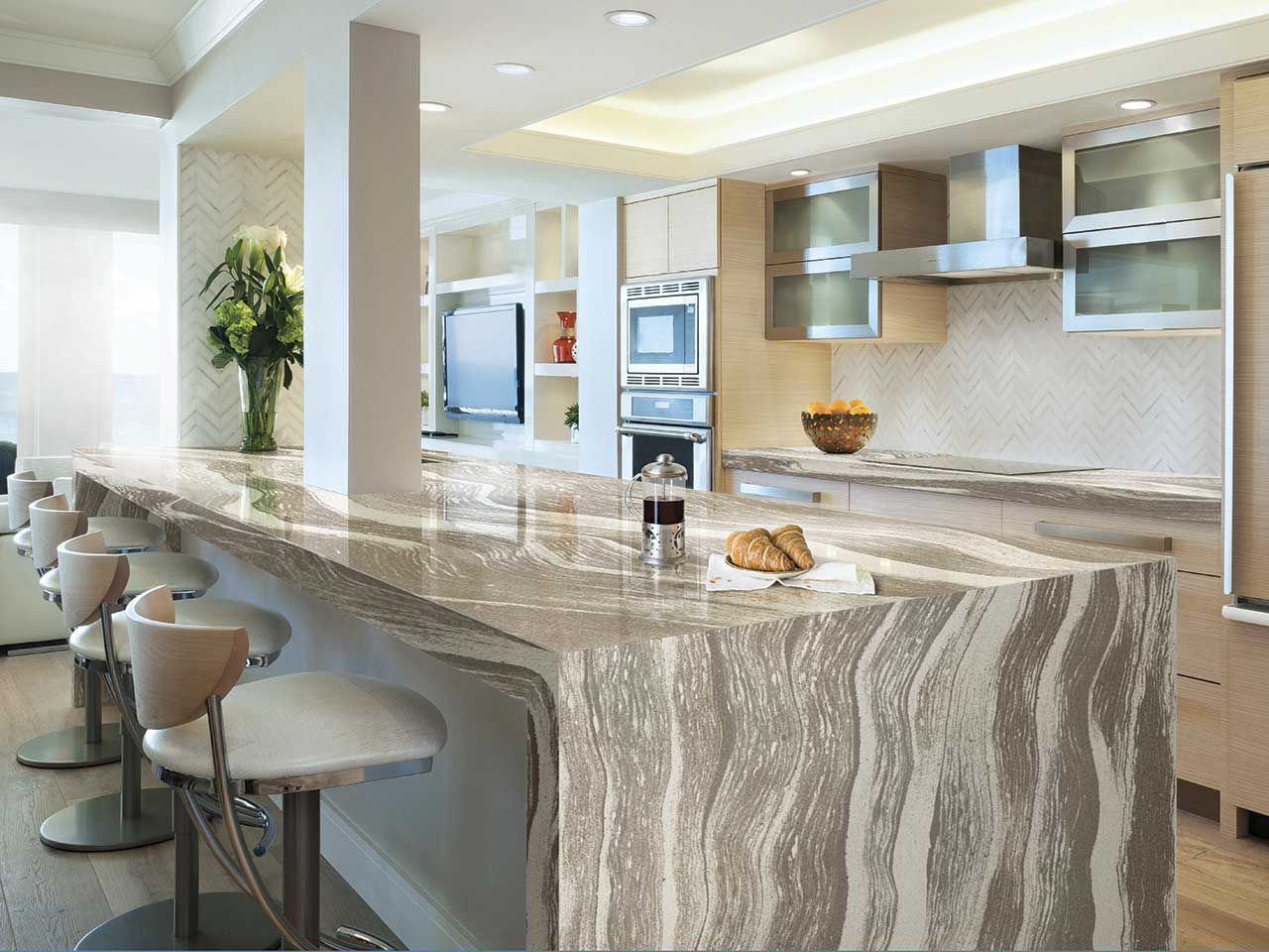 Astonishing Pretty With White Cabinets Waterfall Backsplash Resin Image For  How To Care Granite Countertops In