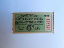 Vintage New York City 5 Cent Subway Fare Ticket Vintage New York Subway New York
