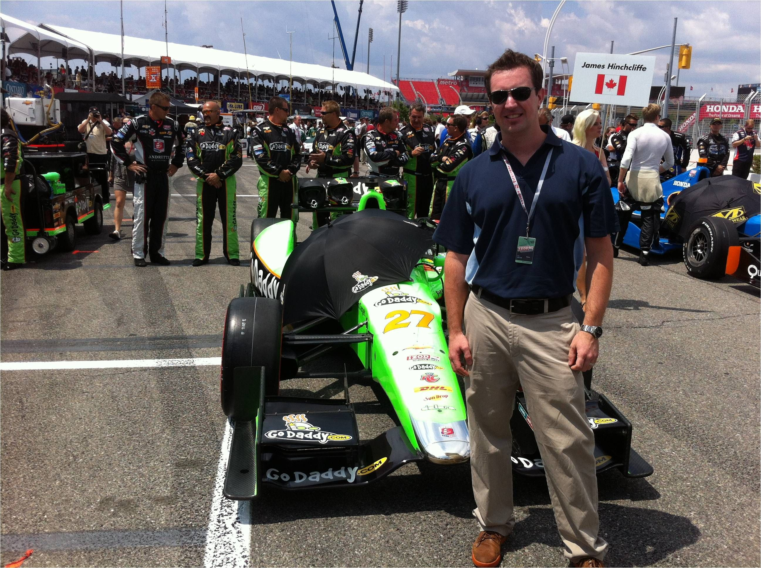 Tim supports local driver James Hinchcliffe at the 2012 Toronto Indy - best of luck next season!