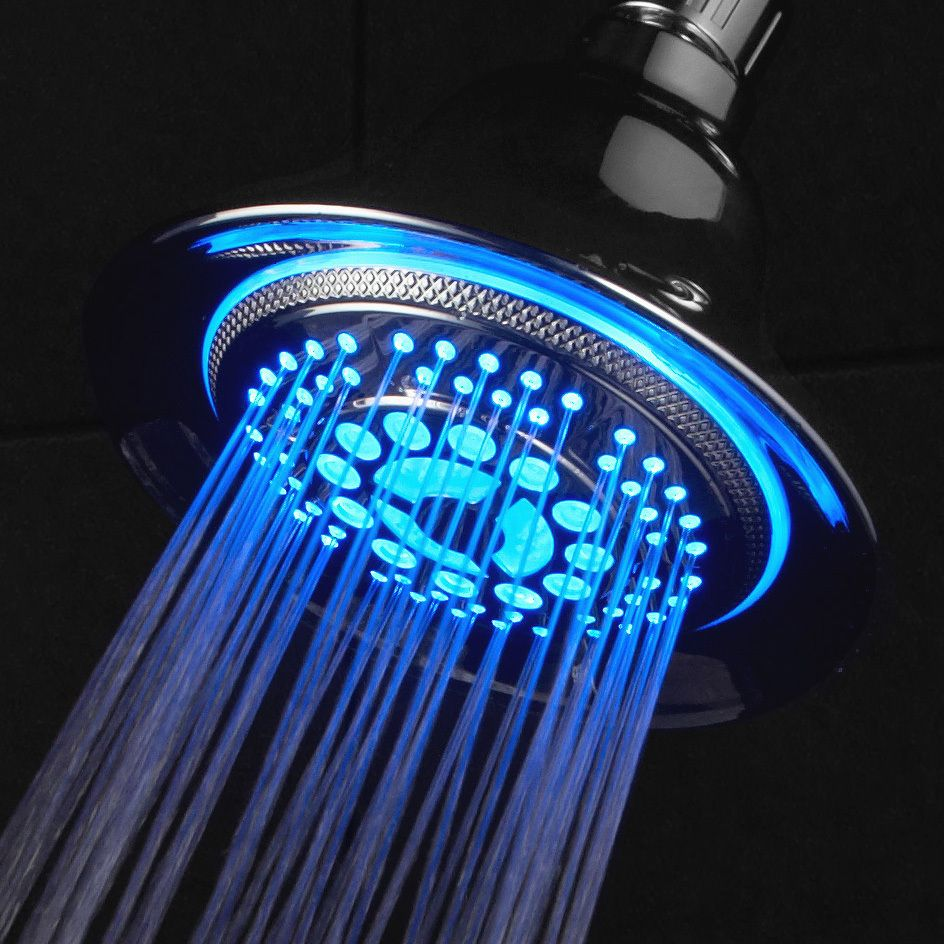 Color of LED lights changes automatically according to water temperature Interlink Products 1482 DreamSpa All Chrome Water Temperature Controlled Color Changing 5-Setting LED Shower-Head by Top Brand Manufacturer