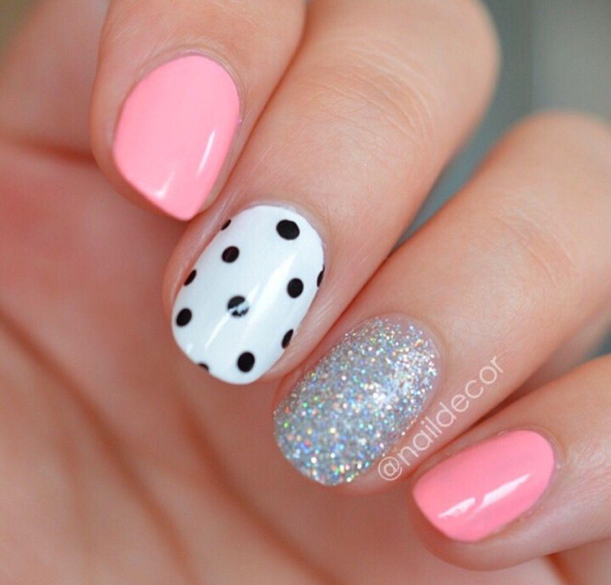 Cute Pink Silver And Polka Dot Nails