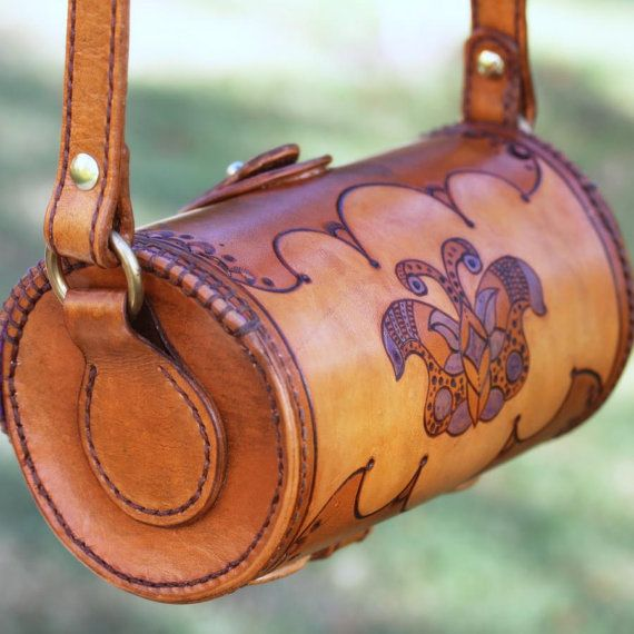 Custom Handmade Leather Barrel Bag By