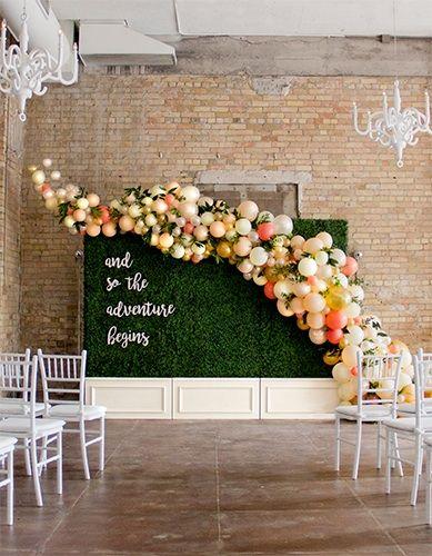 Balloon Installation On Boxwood Walls By Girl Friday Wedding Balloon Decorations Wedding Balloons Wedding Backdrop
