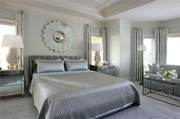 Contemporary (Modern, Retro) Bedroom by Tobi Fairley low headboard with mirror on top