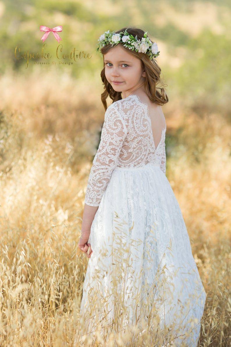 White Flower Girl Dress Long Sleeve Flower Girl Baptism Etsy In 2021 Flower Girl Dresses Boho Rustic Flower Girl Dress White Flower Girl Dresses [ 1191 x 794 Pixel ]