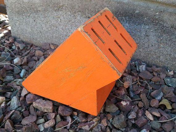 Orange Knife Block  Super cute  distressed and by kraftychix, $10.50