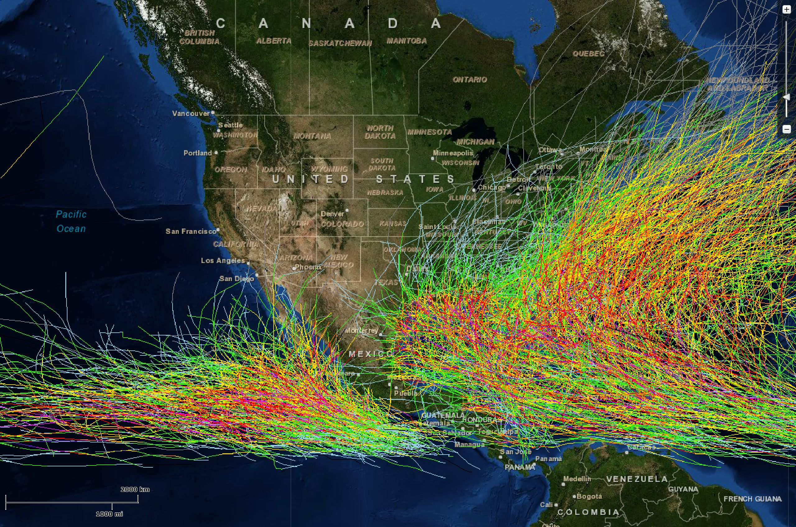 150 Years Of Hurricanes On One Map 1842 To 2012 Hurricane History Hurricane Science Nature