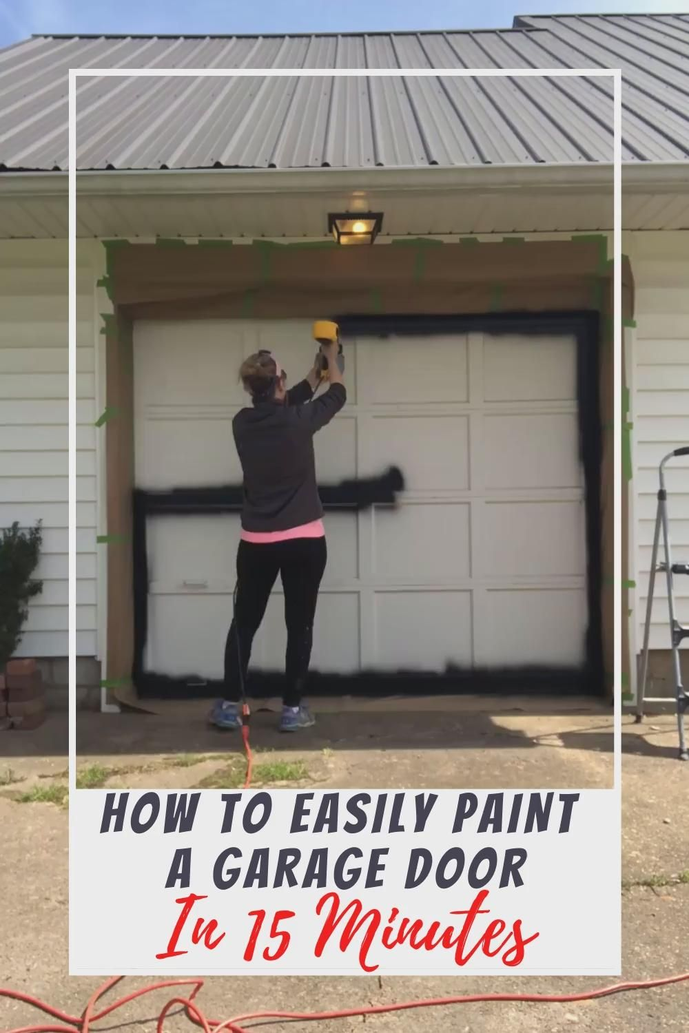 Easy tutorial to quickly  easily paint a garage door in 15 minutes or less! #diyproject #curbappeal #garagedoor