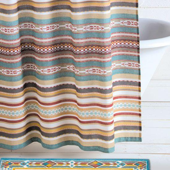 Desert Plains Aztec Pattern Shower Curtain Southwestern Shower