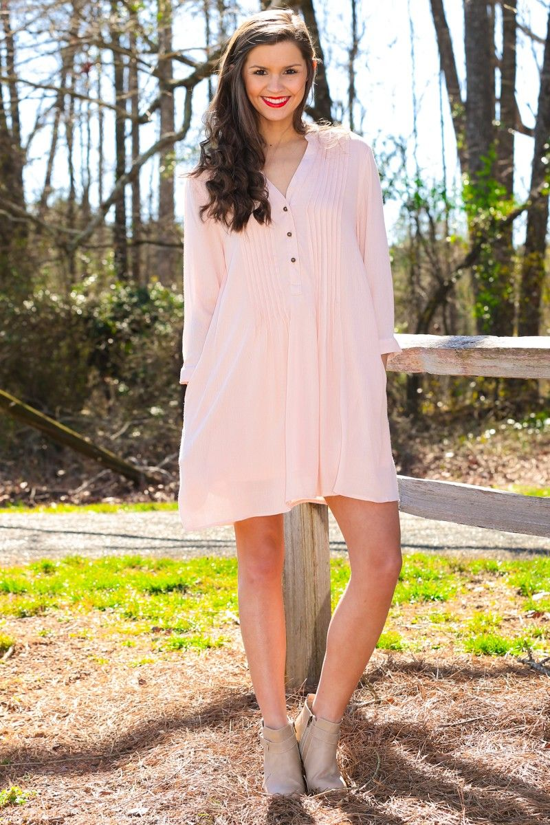 Yellow dress long sleeve  long sleeve light pink blush pleated button down dress by Red Dress