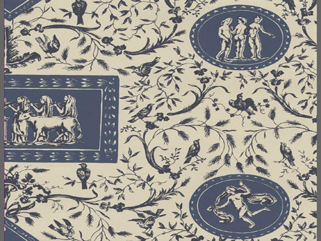 Williamsburg vintage toile wallpaper