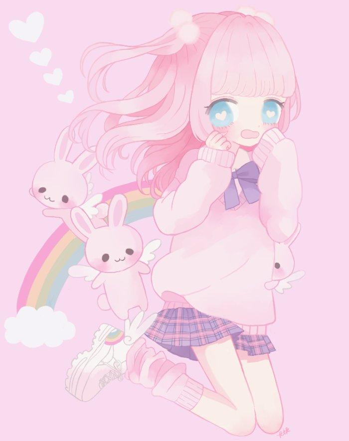 Pink Rabbit Girl By Rota Ko On Deviantart Anime Pink Rabbit Wallpaper Cute Wallpapers