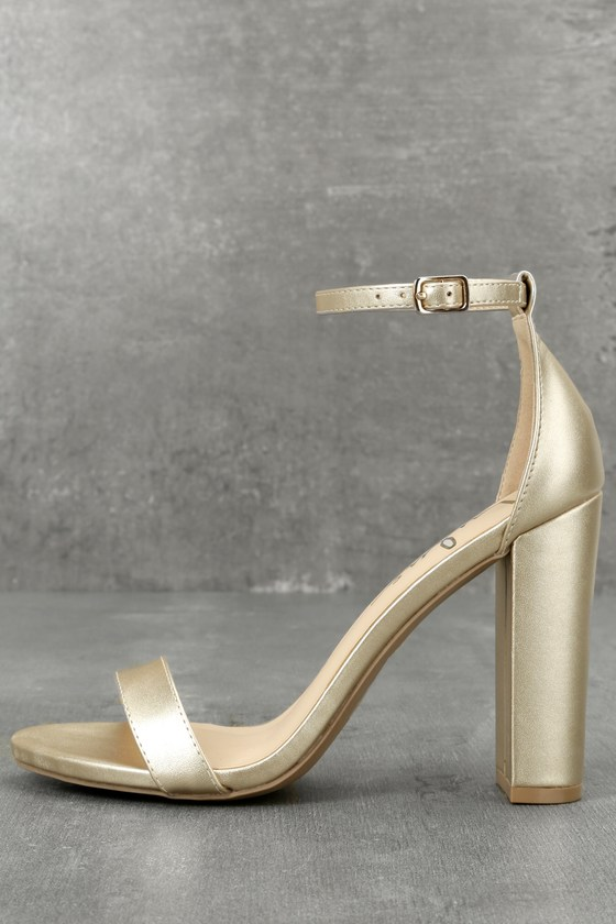 997ad06f362 Lulus | Taylor Gold Ankle Strap Heels | Size 9 | Vegan Friendly ...