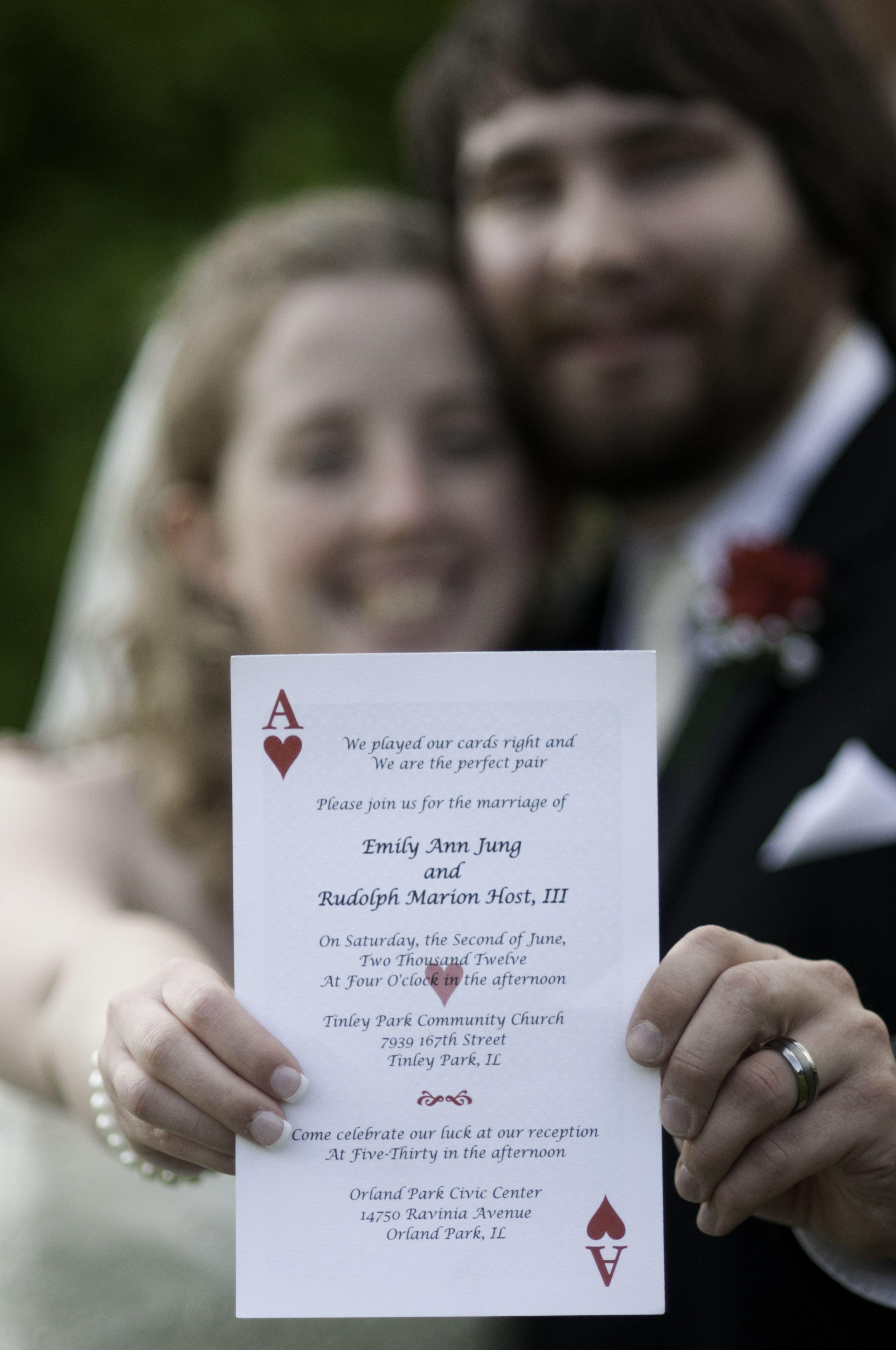 Our playing card wedding invitation Jens wedding Pinterest