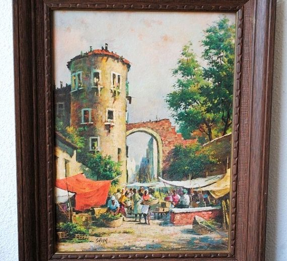 Vintage Framed Art Painting Market Scene by vintageeclecticity, $55.00