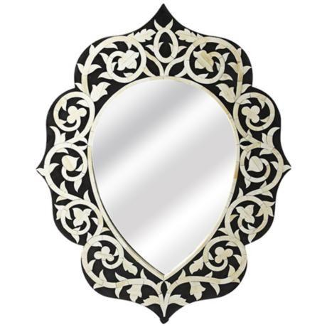 "Palosco Black Bone Inlay 24"" x 36"" Wall Mirror -"