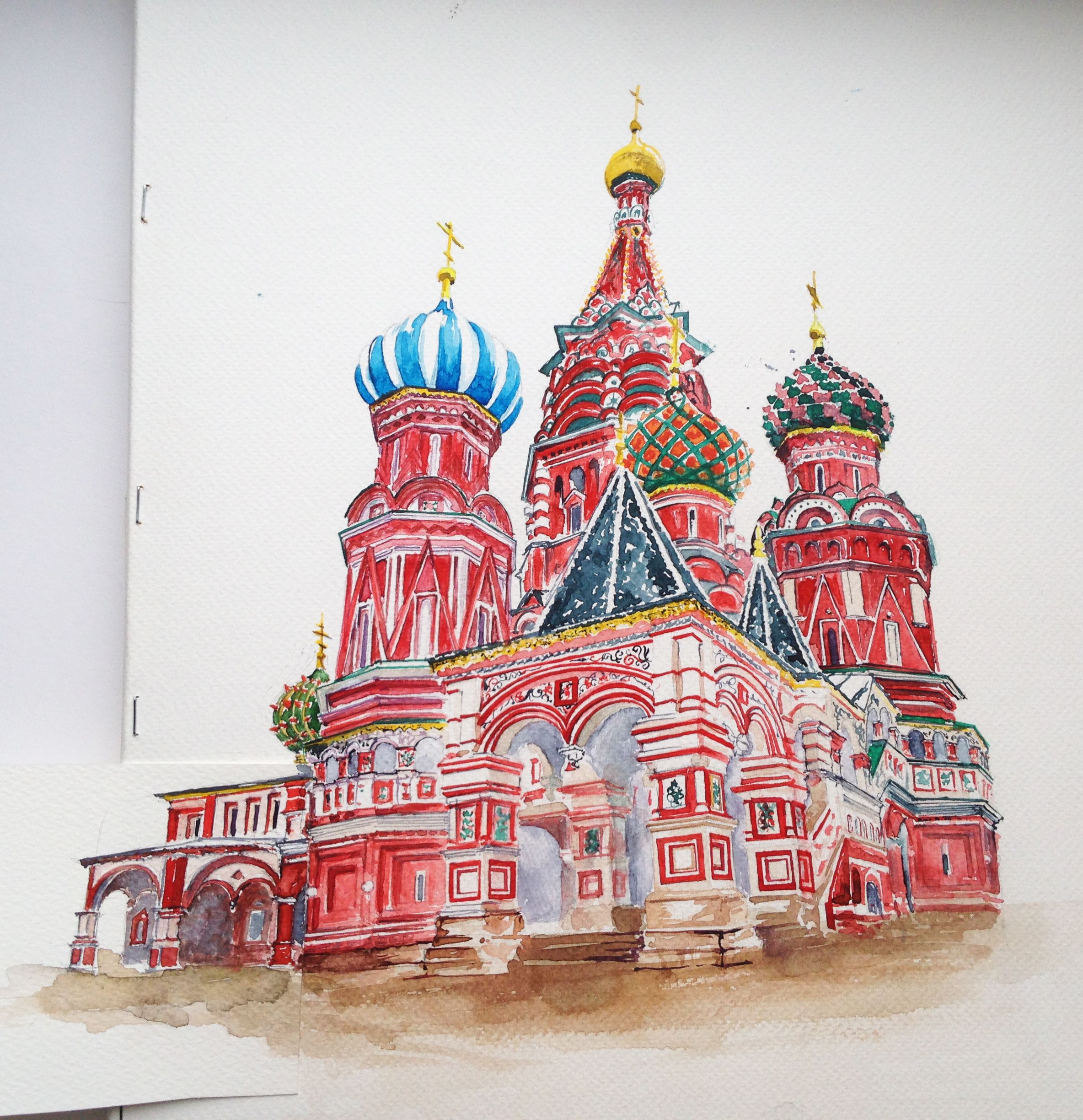 Moscow. Russia. Kremlin. Watercolor. Graphic. Sketch design.