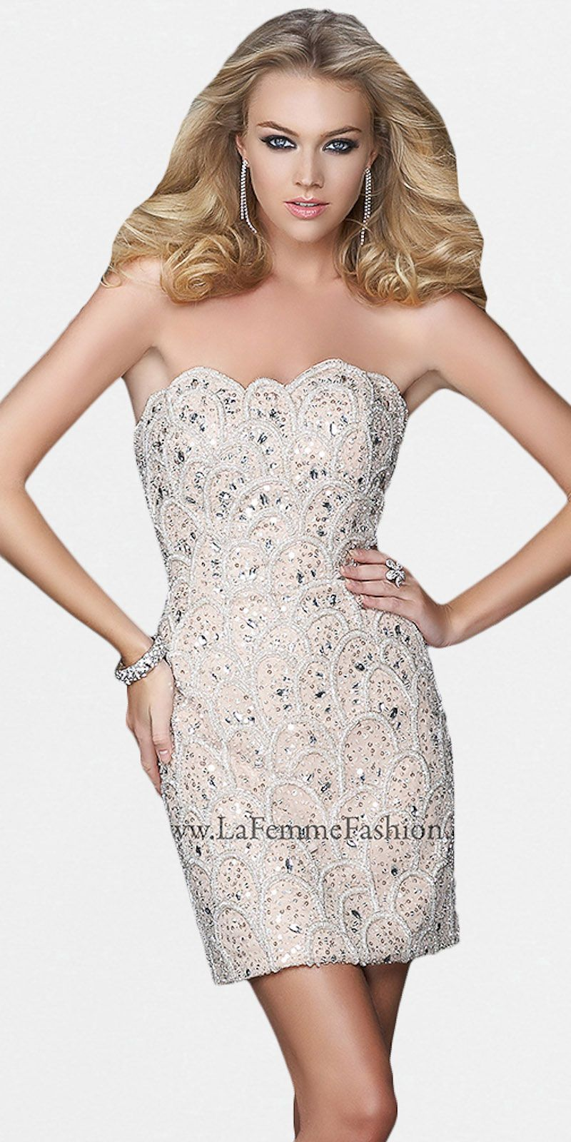 JVN05740 | Nude Side Cut Outs Sequin Cocktail Dress