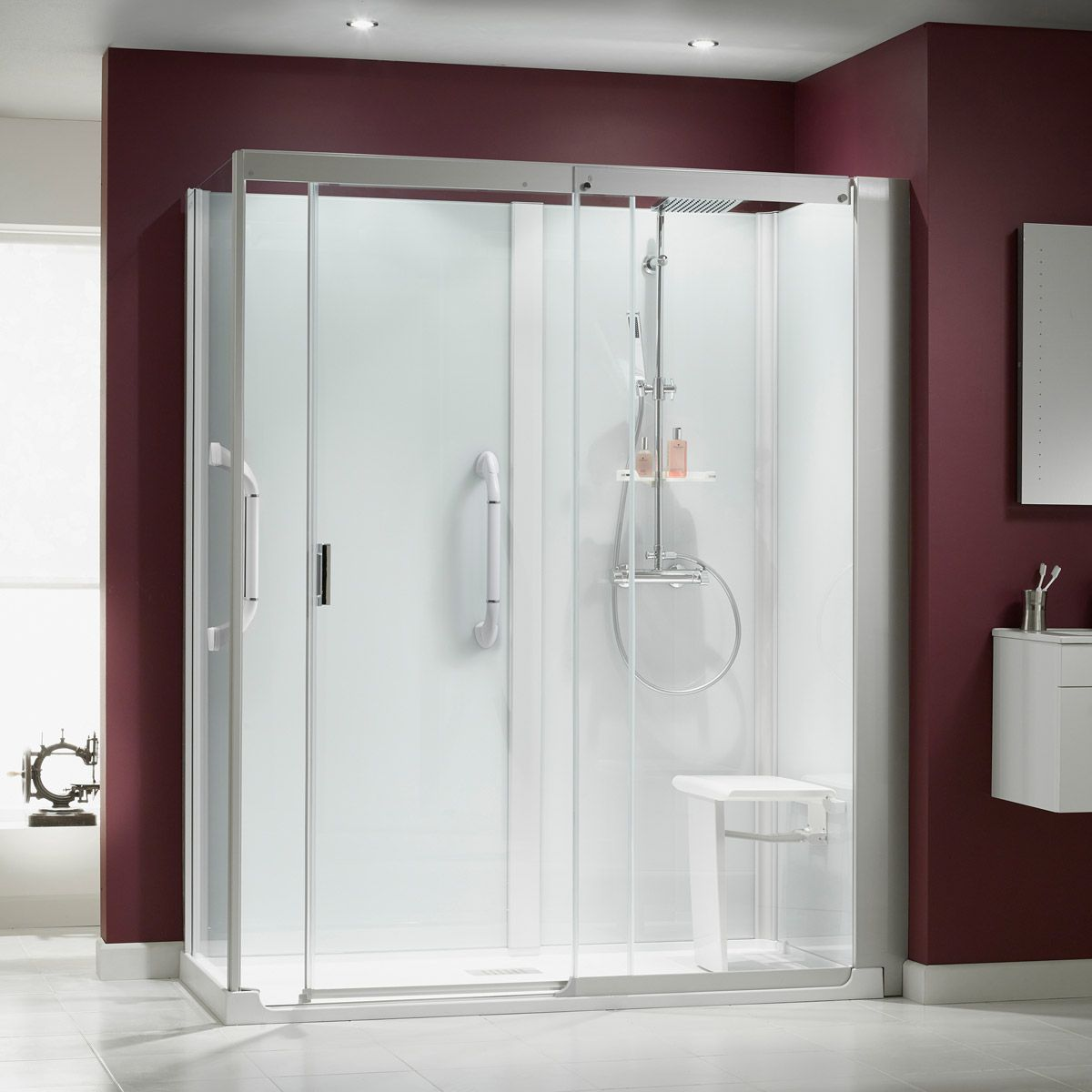 All In One Shower Enclosure And Thermostatic Shower Designed To Fit The Exact Footprint Of Your Old Bathtub 2499 Corner Shower Shower Cubicles Shower Cabin