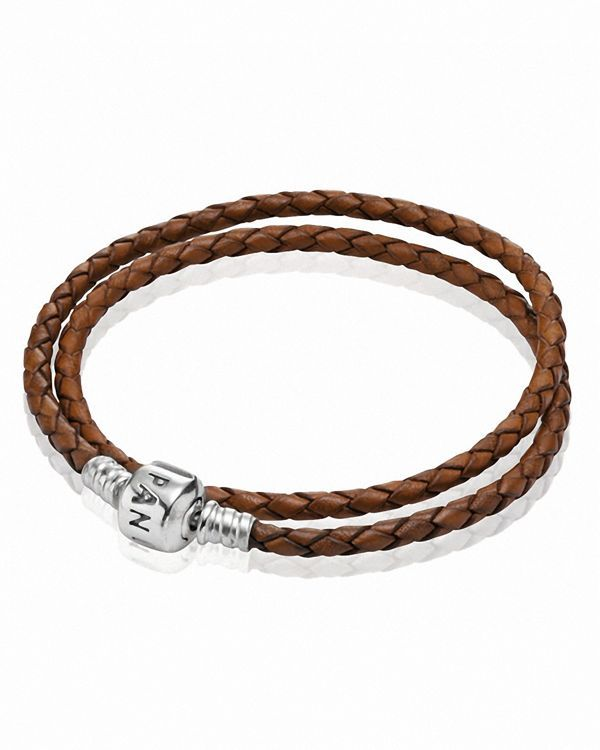 7907efd3b40a2 Pandora Bracelet - Brown Leather Double Wrap with Sterling Silver ...