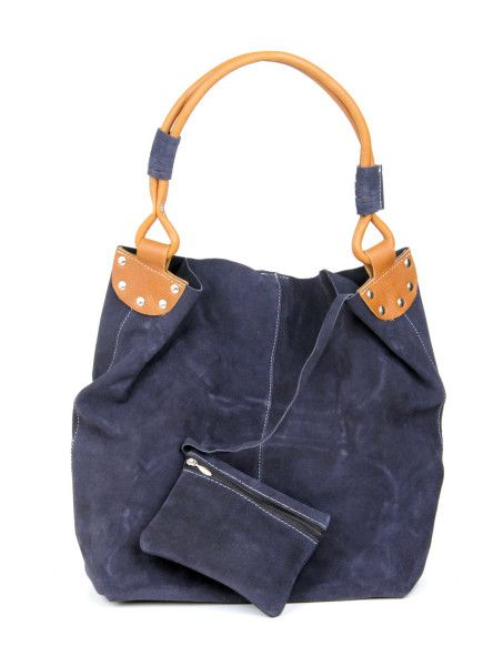 Brand : thayla Type : Shoulder Bags Color : Dark Blue With Yellow Closure : Zip SKU Code :211(P) Dark Blue With Yellow Handle/Strap : Two Compartment : Two Material : Leather Dimension (LxW) cm : 40×42 Description :Suede leather Shopping bag with One Small hanging coin wallet inside   Disclaimer : Product colour may slightly vary due to photographic lighting sources or your monitor settings