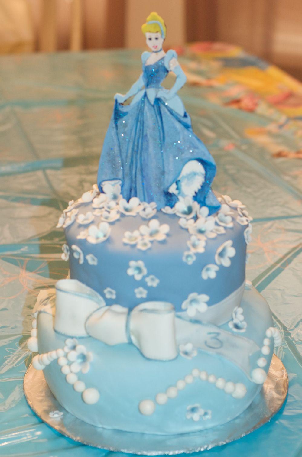 Blue And White Cinderella Birthday Cake Gum Paste Hand