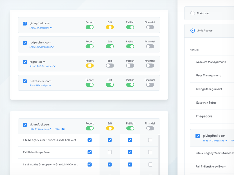 User Permissions | Web Design - UI/UX | Wireframe design